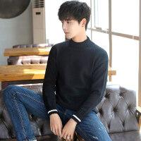 秋冬季半高领毛衣男韩版潮流修身纯色保暖上衣青年套头打底针织衫