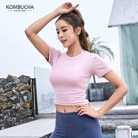 【满100减50/满200减100】Kombucha瑜伽健身短袖T恤2019新款女士速干透气修身性感短款露脐运动上衣J