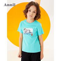 【抢购价:49.9】商场同款安奈儿童装男童T恤短袖2020新款中大童休闲上衣夏装