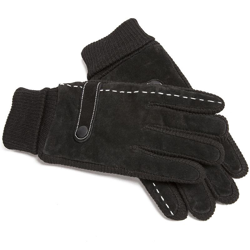皮手套男冬季骑行加厚加绒保暖防风防寒触屏户外棉手套骑车摩托车  均码