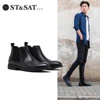 St&Sat/星期六2019冬季新款男鞋尖头休闲上午男士皮鞋SS94125581