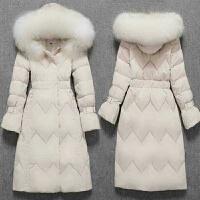 大毛领白鸭绒羽绒服女中长款修身加厚保暖外套潮