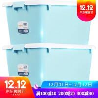 衣服收纳箱50L塑料衣物玩具整理箱大号有盖储物箱收纳盒加厚 大号50L2个装