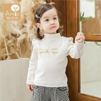 宝宝打底衫加绒加厚1-3岁儿童秋冬季半高领保暖上衣女孩