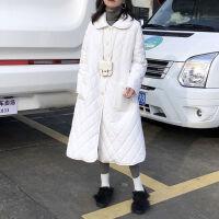 2019秋冬季羽绒服女中长款轻薄款大码娃娃领宽松女装女士外套 S 建议80-120斤