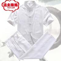 中老年男士棉麻唐装套装男短袖t恤长裤子QT5011-T55