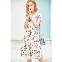 【到手价165.9元】Amii极简复古气质少女连衣裙2019夏季新款露锁骨撞色印花雪纺裙