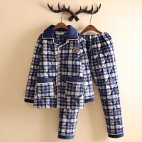 三层加厚男士珊瑚绒夹棉睡衣男款冬季加绒加厚时尚夹棉家居服套装 B 87-18
