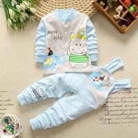 婴儿内衣春夏套装新生儿1-3岁5个月女童背带裤宝宝衣服两件套W 外套+背带裤-蓝色套装 蓝 55码建议身高59CM-6