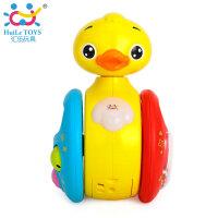 汇乐957小黄鸭幼儿益智音乐滑行摇铃不倒翁电动折装爬行玩具3个月
