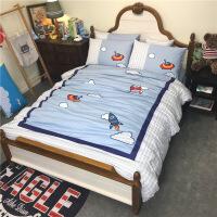 【年货节优选】纯棉斜纹男孩儿童四件套三全棉卡通床上用品被套床单可订上下床笠 灰蓝色