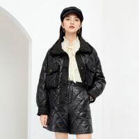 伊芙丽短款羽绒服女2020冬季新款时尚小香风拼接修身加厚保暖外套