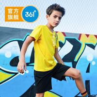 【下单立减】361度童装 男童针织套装字母短袖五分裤2019夏季新品儿童运动休闲套装中大童N51923475