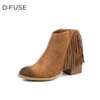 D:Fuse/迪芙斯秋冬款牛反绒磨砂擦色流苏粗跟短靴DF74116309