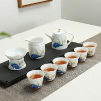 景德镇手绘功夫茶具茶杯套装家用简易陶瓷兰花白瓷茶壶盖碗