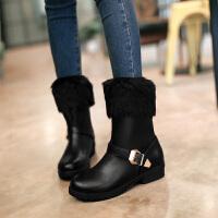 彼艾2017秋冬韩版新款女式雪地靴马丁靴皮带扣粗跟圆头鞋低跟中筒靴厚底毛毛短靴女靴子