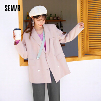 森马西装外套女设计感小花花2021秋季新款甜美风撞色炸街宽松西服