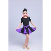 新款儿童拉丁舞裙女孩连衣裙少儿舞蹈服装女童秋冬长袖考级练功服