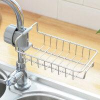 厨房用品免打孔不锈钢水龙头置物架收纳架沥水篮水槽洗碗水池架子