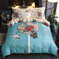 自然醒商场同款全棉中式风床上四件套棉裸睡床上用品1.8床单被套夏季