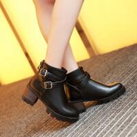 彼艾2016新款秋冬欧美时尚厚底粗跟短靴防水台超高跟裸靴皮带扣女靴子