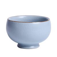 汝窑品茗杯开片主人杯单个复古冰裂杯大号家用陶瓷功夫茶杯禅定杯
