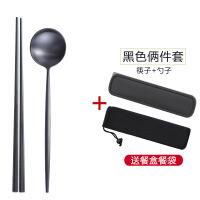 304不锈钢筷子勺子套装创意学生可爱筷盒子网红便携餐具三件套装