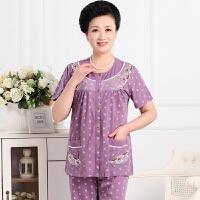 中老年睡衣女夏季短袖棉妈妈加大码家居服夏天薄款中年开衫套装 77-9紫短袖短裤 L(建议体重95-115斤)