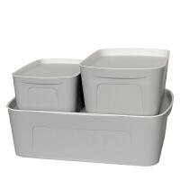 JH8202 收纳箱大号塑料整理箱三件套 米色 收纳箱三件套 灰色