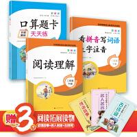 看拼音写词语生字注音 口算题卡天天练 阅读理解 2年级下册(套装3册含赠品)
