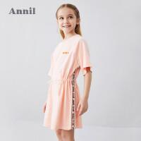 安奈儿童装女童连衣裙2020夏季新款中大童收腰抽绳短袖洋气网红裙4