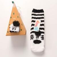 5双起拍 睡眠珊瑚绒地板袜子男女秋冬圣诞礼盒袜加厚红袜子中筒袜