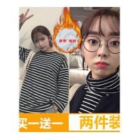 加绒原宿风bf秋季女装上衣韩版宽松学院风条纹长袖T恤学生打底衫