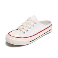 半拖帆布鞋女开口笑平底鞋女新款无后跟学生鞋韩版百搭小白鞋