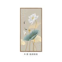 新中式装饰画 玄关走廊道竖版进门壁画 客厅中国风挂画禅意荷花