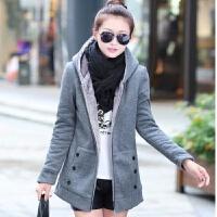 秋冬装加厚韩版中长款毛内胆开衫外套加绒连帽卫衣学生上衣女