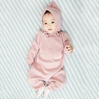 婴儿连体衣服爬爬服春秋新生儿女宝宝6个月12男1岁哈衣3外出