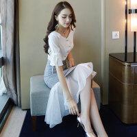 小香风气质雪纺连衣裙女夏装2018新款韩版温柔裙超仙收腰套装裙子 套装