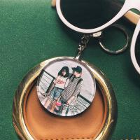 情侣钥匙扣女生礼物定制照片 照片钥匙扣定制礼物双面透明情侣水晶钥匙女diy创意相片挂件制作