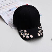 20180823091459399复古风梅花刺绣鸭舌帽 新款花朵棒球帽 休闲女士 帽子 可调节