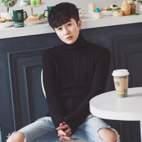 2018新款高领毛衣男士韩版潮流修身秋冬季加绒加厚毛衣线衣针织衫