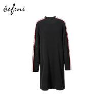 商场同款伊芙丽新款韩版圆领中长款黑色宽松连衣裙女118B297641