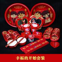 结婚用品套装 婚庆婚礼新娘喜盆女方陪嫁用品嫁妆套装镜子皂盒毛巾红盆婚嫁