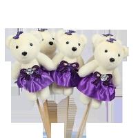 七夕节小熊鲜花 冰淇淋钻熊卡通花束 公仔 包装材料泡沫小熊包花娃娃 BX