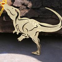 侏罗纪恐龙书签 当当自营 巨齿龙 黄铜材质 镂空创意高档金属书签套盒中国风 韩国书签精美卡通可爱书签 货到付款