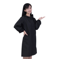 防风防油污防水长袖带帽拉链风衣式长款围裙罩衣韩版男女款工作服