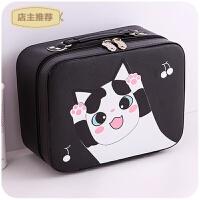 化妆包小号便携韩国简约可爱少女心大容量多功能品包收纳盒箱手提SN4170 黑色-樱桃萌猫大号