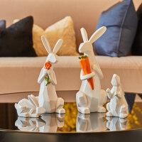 现代简约动物小摆件可爱个性房间软装饰品客厅北欧家居电视柜摆设 千变折纸兔摆件【一家四口】
