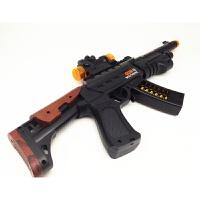 儿童电动玩具枪冲锋枪小孩3岁音乐枪道具男孩宝宝电动玩具枪声光 突击枪-不带 送电池 官方标配