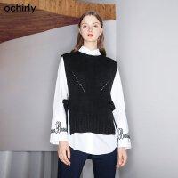 [9月12日3件7折到手价:189元]ochirly欧时力冬装绑带两件套针织无袖背心罩衫1GZ4039000